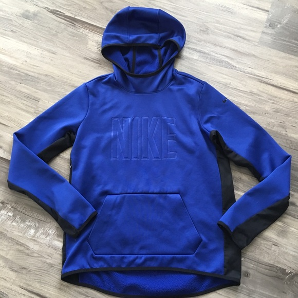 0cec1d36f407 Nike All Time Tech Hoodie Blue Black Large Therma.  M 5b8600185a9d216a6bcaa3f7